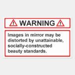 Beauty Standards Warning Rectangular Sticker