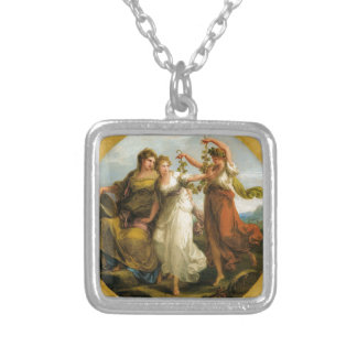 Beauty, supported by Prudence, Scorns the Offering Square Pendant Necklace