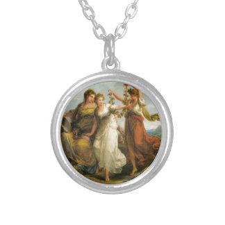 Beauty, supported by Prudence, Scorns the Offering Round Pendant Necklace