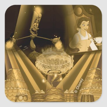 Disney Themed Beauty & The Beast   A Golden Collage Square Sticker