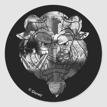 Disney Themed Beauty & The Beast   B&W Collage Classic Round Sticker