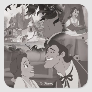 Disney Themed Beauty & The Beast   Belle & Gaston Square Sticker