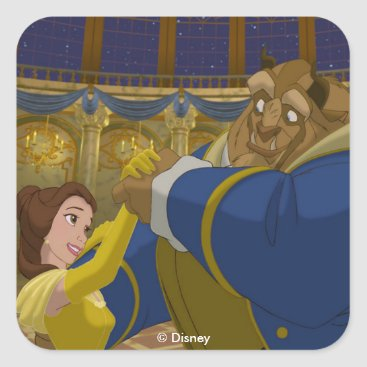 Disney Themed Beauty & The Beast   Belle & The Beast Dancing Square Sticker