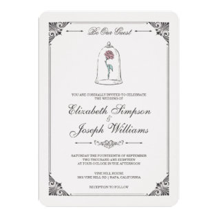 Beauty & The Beast | Enchanted Rose Wedding Card at Zazzle