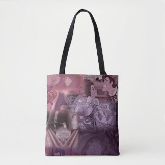 Beauty & The Beast | Pink & Purple Collage Tote Bag