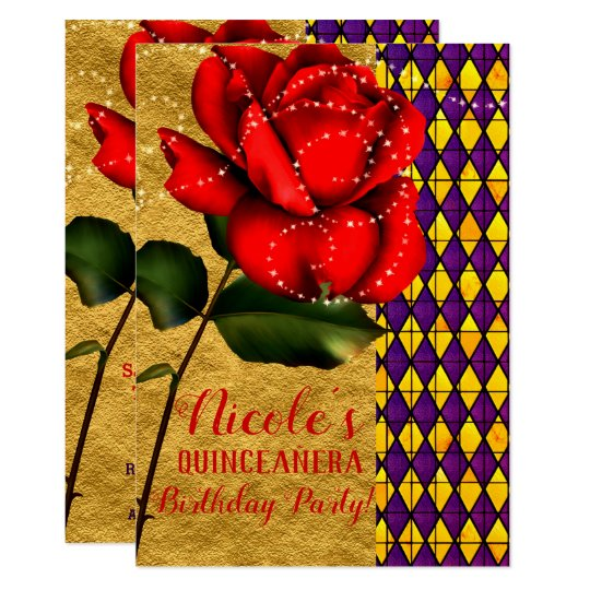 Beauty The Beast Red Sparkle Rose Quinceanera Invitation