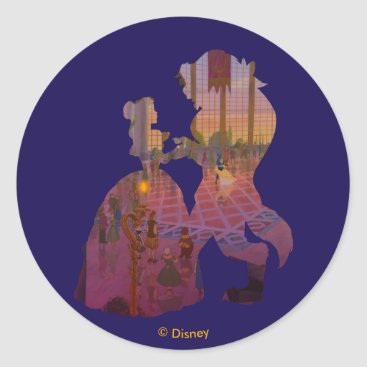 Disney Themed Beauty & The Beast   Silouette Dancing Classic Round Sticker