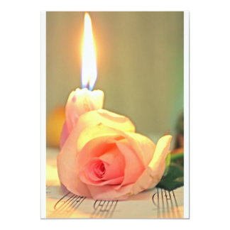 Beauty treatment-pink rose and candle 5x7 paper invitation card