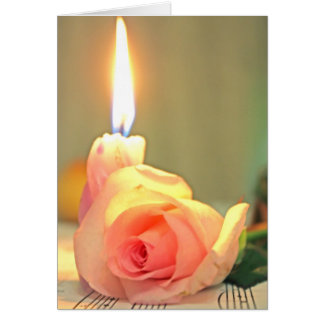 Beauty treatment-pink rose and candle greeting card
