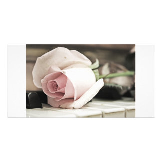 Beauty treatment-pink rose and candle customized photo card