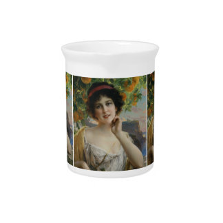 Beauty Under the Orange Tree by Emile Vernon Drink Pitchers