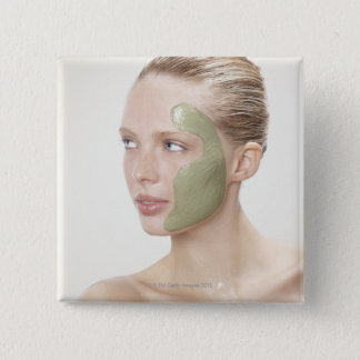 beauty, wet, spa, hair up, blonde, blue eyes pinback button