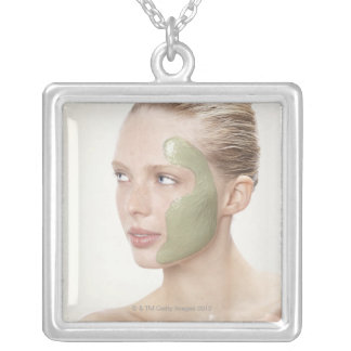 beauty, wet, spa, hair up, blonde, blue eyes square pendant necklace