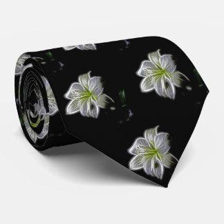 Beauty White Flower Pattern Neck Tie