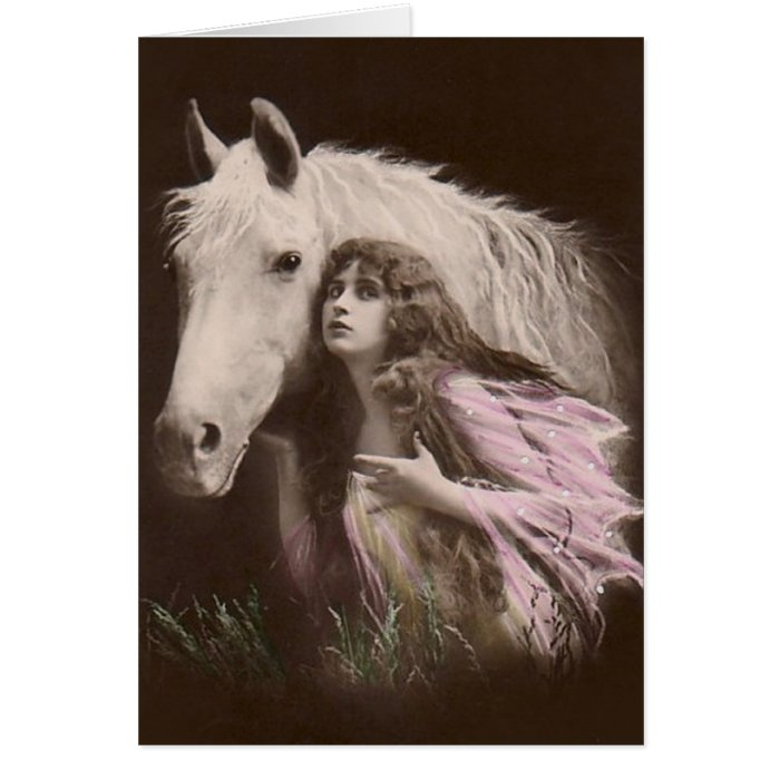 *Beauty With a White Horse* Vintage Card