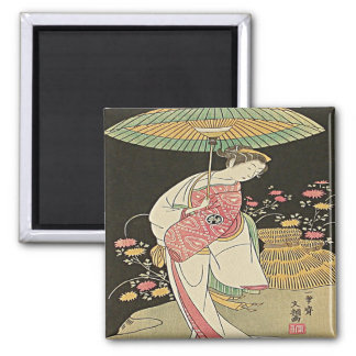 Beauty With An Umbrella Japanese Woodblock Print Magnet