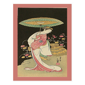 Beauty With An Umbrella Japanese Woodblock Print Postcard