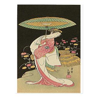 Beauty With An Umbrella Japanese Woodblock Print Postcard