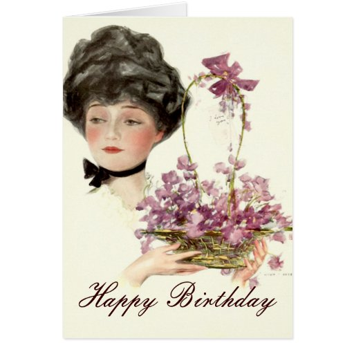 Beauty with Flowers Happy Birthday Card