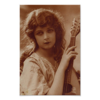 Beauty with Guitar Print