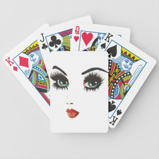 Beauty woman face bicycle playing cards