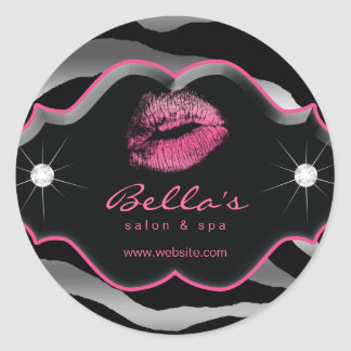 Beauty Zebra Animal Silver Gray Pink Lips Diamonds Classic Round Sticker