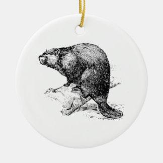 Beaver #1 ceramic ornament