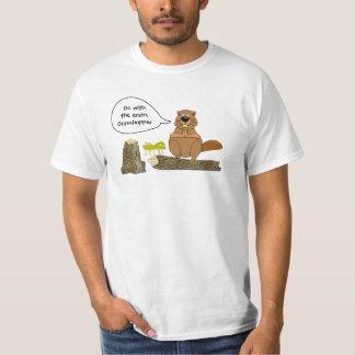 Beaver and Grasshopper Funny Woodturning Cartoon T-Shirt