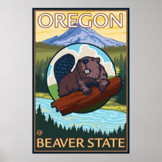 Beaver and Mount Hood Scene - Oregon Poster