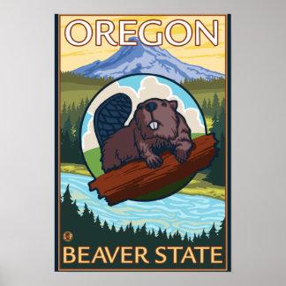 Beaver and Mount Hood Scene Vintage Travel Poster