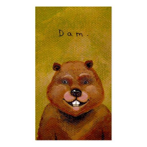 Beaver art original painting slightly deranged fun business card