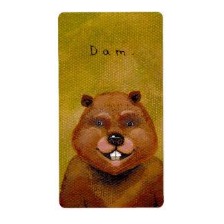 Beaver art original painting slightly deranged fun label