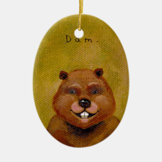 Beaver art original painting slightly deranged fun ornaments