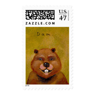 Beaver art original painting slightly deranged fun postage