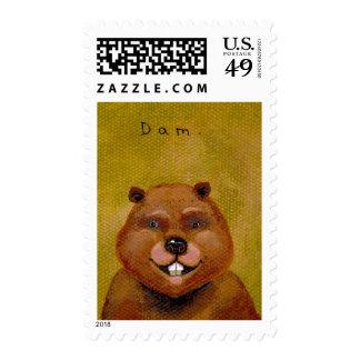 Beaver art original painting slightly deranged fun postage stamp