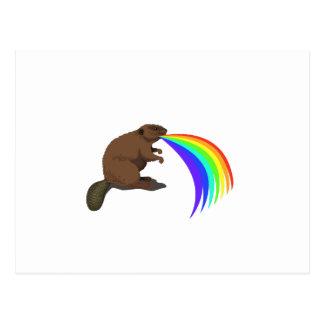 Beaver Barfing Rainbow Postcard