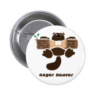 beaver beaver more otter more eager pinback button