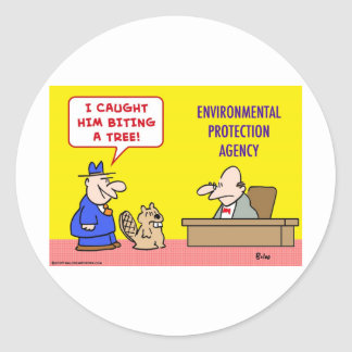 beaver biting tree environmental protection agency classic round sticker