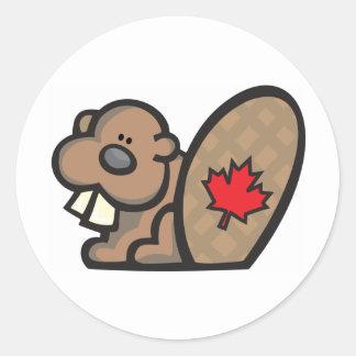 Beaver canada classic round sticker