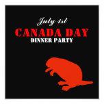 """Beaver Canada Day Dinner Party Invitation 5.25"""" Square Invitation Card"""