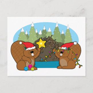 Beaver Christmas Holiday Postcard