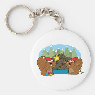 Beaver Christmas Keychain