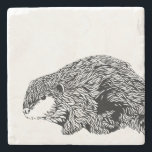 """Beaver Coaster<br><div class=""""desc"""">Building beaver sits on this classy stone coaster. Customize with with name,  course number or other text.</div>"""