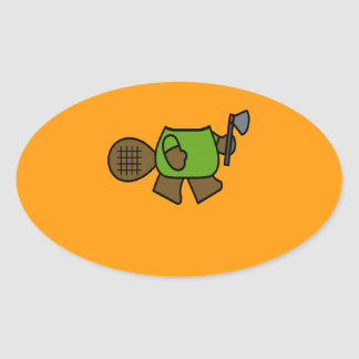 BEAVER COSTUME - Halloween -.png Oval Sticker