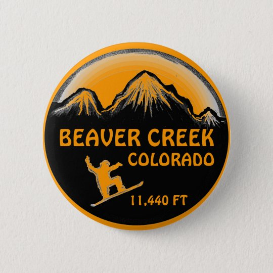 Beaver Creek Colorado orange snowboard art button