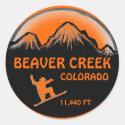 Beaver Creek Colorado orange snowboard art sticker
