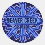 Beaver Creek Colorado snowflake round stickers