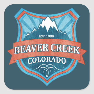 Beaver Creek Colorado teal grunge shield stickers