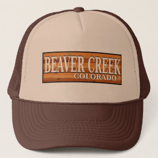 Beaver Creek Colorado wooden log sign hat