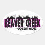 Beaver Creek rosado de neón Colorado del grunge Calcomanías Óvales Personalizadas